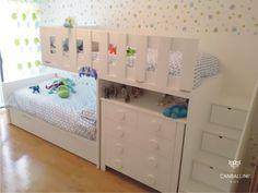 Litera con escritorio extraible para habitaciones for Habitaciones infantiles tipo tren
