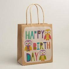 One of my favorite discoveries at WorldMarket.com: Medium Birthday Text Owls Gift Bags, Set of 2