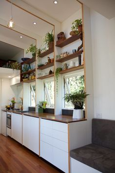 This is The Portal, the flagship tiny house design of The Tiny House Company in Australia. It has clean lines and tons of plants. Tiny House Talk, Tiny House Company, Small Tiny House, Tiny Houses For Sale, Tiny House Living, Tiny House Design, Tiny House On Wheels, Small Living, Bed Company