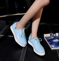 Loafers Flats Women Leather Lace Up Platform Flat Solid Round Toe Sneakers  on Luulla