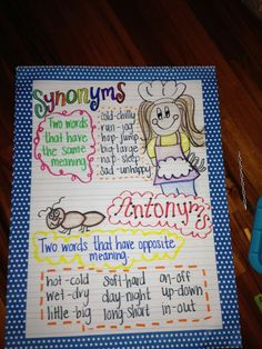 synonym and antonym anchor charts . Synonyms Anchor Chart, Synonyms And Antonyms, Writing Anchor Charts, 4th Grade Ela, 4th Grade Reading, Second Grade, Word Reading, Reading Lessons, Teaching Reading