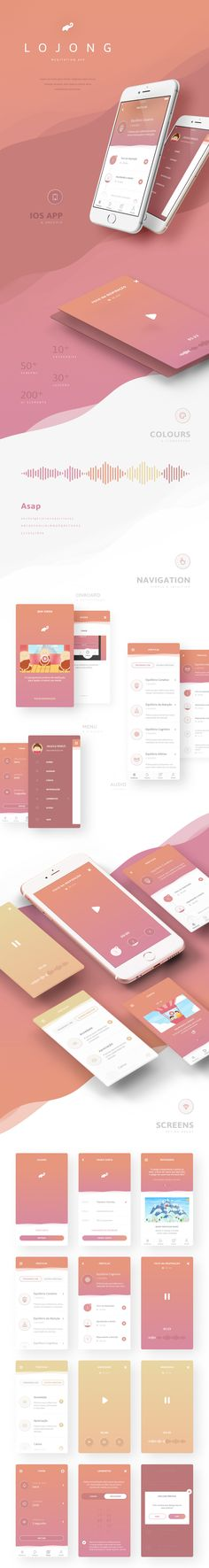 Lojong Meditation App A soft warming colour palette paired with a clean simple UI makes this app user friendly and welcoming. Perfect for a meditation app. Meditation Apps, Meditation Practices, Web Design Mobile, App Ui Design, Gui Interface, Interface Design, Website Design, Ui Design Inspiration, Application Design