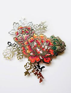 A Heng Lee floral embroidery brooch. Wow.