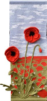 Poppies Wall Hanging-pattern for sale along with patterns for other beautiful 4 seasons flower wall hangings.