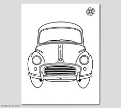 Classic car coloring book page! Featuring a Morris Minor. The same drawing as on…