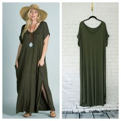 """Olive Maxi has short sleeves with narrow folded cuffs and side pockets. Pleat detail on upper back, slips over head. Measurements laying flat: Armpit to armpit - 1X 24"""", 2X 24.5"""", 3X 25.5"""", waist - 1X 24"""", 2X 24.5"""", 3X 25.5"""", length - 1X 52"""", 2X 52"""", 3X 53"""", width at top of slit - 1X 28"""", 2X 28.5"""", 3X 29.5"""""""