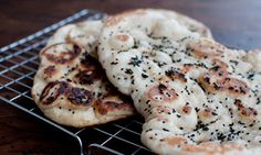 Dan Lepard: finished naan breads (coconut naan bread and naan bread stuffed with spiced chickpea mix)
