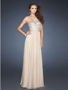 Charming Strapless Beading Sleeveless Floor-Length Chiffon Dresses