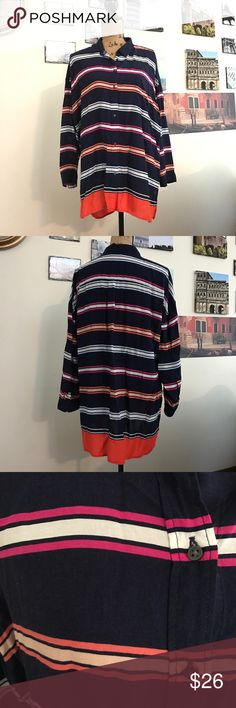 """💟Gap striped hi-low blouse, sz. XL Oh the colors on this blouse are so pretty!!!  Wear with a pair of white capris and sandals!!  Measures 24"""" pit to pit flat laid, the front length measures 28"""" and the back is 31"""".  0111110217 GAP Tops Button Down Shirts"""
