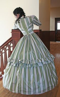 Recollections: Silk Stripe Civil War Gown - back