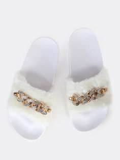 Online shopping for Faux Fur Link Slides WHITE from a great selection of women's fashion clothing & more at MakeMeChic.COM.