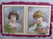 ... Silk Fringed BEAUTIFUL LADIES Christmas Cards..Set of 4 Attached..Silk