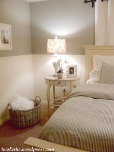 BEDROOM: Coventry Gray HC169  wainscoting Mayonnaise OC85