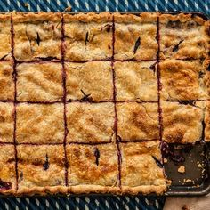Appease the crowds with this giant sheet-pan pie that makes use of two of our favorite summer fruits. Easy Blueberry Pie, Blueberry Recipes, Pie Recipes, Dessert Recipes, Cooking Recipes, Fruit Recipes, Summer Recipes, Cooking Tips, Peach Slab Pie