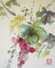 Original Watercolor Chinese Brush Painting Grapes by 3katdesign