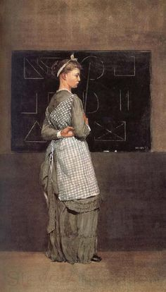 'Blackboard' (1877) by Winslow Homer.  An impressively austere depiction of an upright schoolmistress going about her work, while keeping a sideways eye on her charges, is to be found in the collections of the National Gallery of Art in Washington.