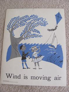 "Vintage Illustrated Large School Flash Card Science Poster 1950s ""Wind is moving air"" Artwork by Cynthia Amrine"