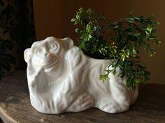 Vintage Planter Unique MOD White Ceramic Monkey by StylishPiggy