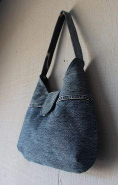 Denim Handbag with Blue Canvas Lining, Front Tab with Magnetic Snap Closure and Two Interior Pockets by AllintheJeans on Etsy