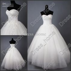 Wholesale Ball Gown Wedding Dresses - Buy Elegant Bridal Dress Ball Gown Sweetheart Ruffle Beaded Applique Sequins Wedding Gowns, $148.13 | DHgate
