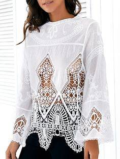 Hollow Out Long Sleeve White Blouse