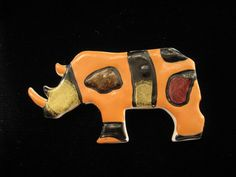 Vintage Plastic DL Enameled Hippopotamus Pin via Etsy