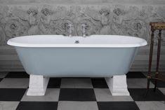 Camargue cast iron bath with white marble plinths - powder blue Cast Iron Bath, Bath Paint, Roll Top Bath, Clawfoot Bathtub, White Marble, New Homes, Baths, Blue, Bathrooms