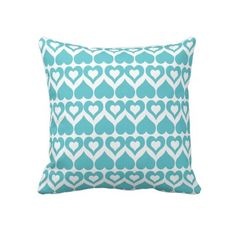 Cute Teal heart pattern pillow or cushion. #cute #heart #throw #pillow #cushion  http://www.zazzle.com/teal_heart_elegant_modern_throw_pillow_or_cushion-189487532882210426?rf=238213022379565456