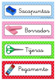 RECURSOS DE EDUCACIÓN INFANTIL: ETIQUETAS DE MATERIALES Polka Dot Classroom, Classroom Labels, Classroom Supplies, Classroom Themes, Class Labels, School Labels, Spanish Classroom, Teaching Spanish, Teacher Organization