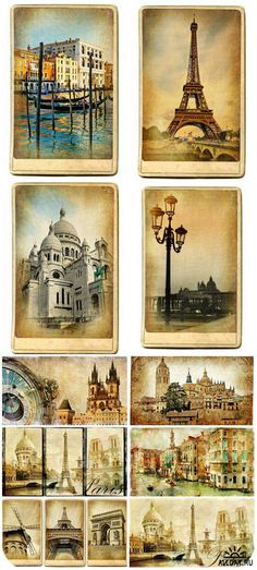 Cities and countries in vintage style - Download free 10 JPG | max 8000x8000 | 300 dpi | 228 Mb