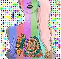 trippy psychedelic trip skull morbid rave skeleton bones digital ...