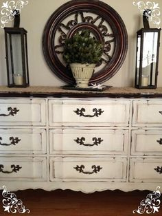 Distressed Old White Chalk Paint® and Clear Soft Wax on Dresser | Vintage Country Style