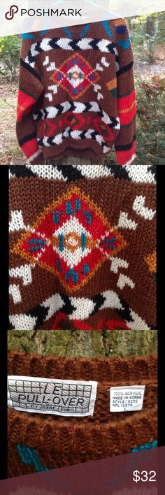 Vintage 80s or 90s brown tribal sweater In beautiful condition.  Tag says large.  LE Pullover brand.  May have musty smell from storage.  Colors may look different on your screen. Vintage Sweaters Crew & Scoop Necks
