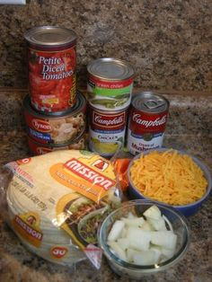 King Ranch Chicken Casserole, step by step. I add Rotel to mine which replaces the green chilis and the diced tomatoes :D