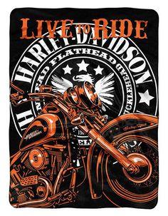 Harley-Davidson Blanket 60x80 Raschel Live To Ride Design