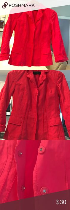 Elie Tahari Stunning Bright red/pink blazer! Size 2 hot red or pink blazer from Tahari with snap buttons. Perfect condition! ❌no trades❌ Tahari Jackets & Coats Blazers