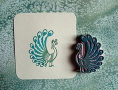 peacock hand carved stamp