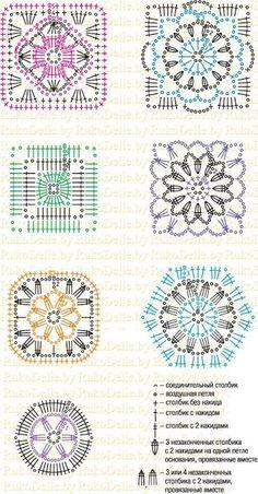 69 ideas crochet granny square flower afghans for 2019 Crochet Edging Patterns, Crochet Motifs, Granny Square Crochet Pattern, Crochet Blocks, Crochet Mandala, Crochet Diagram, Crochet Chart, Crochet Squares, Crochet Granny