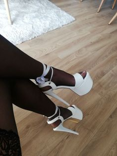 White platform heels and black stockings Strappy High Heels, Black High Heels, Sexy Heels, Sexy Sandals, Stiletto Heels, Pantyhose Heels, Stockings Heels, Black Stockings, High Platform Shoes