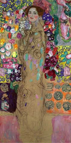 Gustav Klimt, Frauenbildnis (Portrait of Ria Munk III), - Klimt's last portrait left unfinished (1918). -repinned from http://LinusGallery.com #art #artists