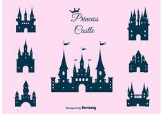 Princess Castle Vector Set Shadow Drawing, Crown Drawing, Cardboard Box Crafts, Cardboard Castle, Castle Cartoon, Castle Silhouette, Castle Vector, Castle Illustration, Castle Drawing