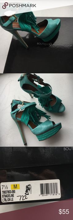 """Fringe Boutique 9 Turquoise sandals sz 7.5 Ready for summer Boutique 9 Tan leather & suede cuff fringe platform heel. Wood grain heel with a weave along platform. In original box. Wore 1 time- 5"""" heel with 1"""" platform Boutique 9 Shoes Heels"""