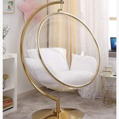DITI Hanging Basket Bubble Glass Chair With Stand - Stylish and gorgeous rattan wicker weave swing chair with iron stand, big egg swing, cushion seat, - Cute Bedroom Ideas, Cute Room Decor, Girl Bedroom Designs, Room Ideas Bedroom, Teen Room Decor, Bedroom Chair, Bedroom Decor, Swing In Bedroom, Paris Room Decor