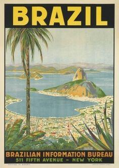 Cartaz retratando o Rio de Janeiro, de autoria de Waldomiro Gonçalves Christino. O trabalho deve chegar aos 1,2 mil dólares (R$ 2,6 mil) na venda, segundo a casa de leilões Swann. A data da produção é desconhecida