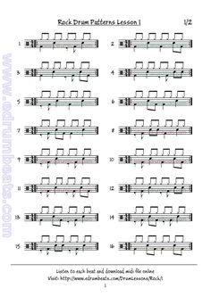 Rock drum lesson 1 page 1. Basic eight-note rock beats.