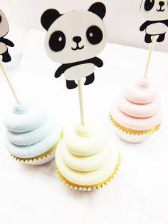 Panda Bear Cupcake Toppers - Birthday Party Decor - Baby Shower Decor - Jungle Theme - Zoo Birthday - Safari Theme