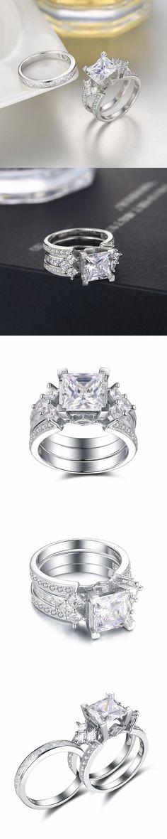 Lajerrio Jewelry Princess Cut White Sapphire S925 Ring Sets