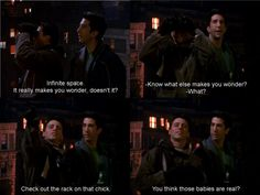 Ross takes everyone to the roof top to show them a rare comet.