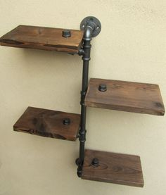 URBAN INDUSTRIAL RUSTIC WALL MOUNT IRON PIPE 4 TIERS WOOD SHELF SHELVING STORAGE | eBay