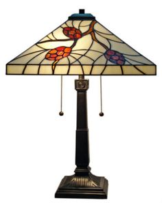 Mission Design Arts & Crafts Pine Cones Tiffany Style Stained Glass Lamp 1640JM